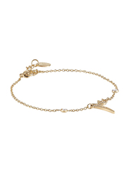 Agatha Sterling Silver Chain Bracelet for Women with Cubic Zirconia Stone and Arabic Number 3, Gold