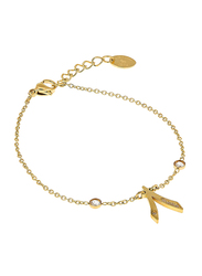Agatha Sterling Silver Chain Bracelet for Women with Cubic Zirconia Stone and Arabic Number 8, Gold