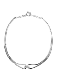 Agatha Brass 2 Loops Multi-Chain Necklace for Women, Silver