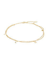Agatha Brass Multi-Chain Anklets for Women with Cubic Zirconia Stone and Moon/Paved Star Charm, Gold