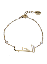 Agatha Sterling Silver Chain Bracelet for Women with Cubic Zirconia Stone and Arabic Word Love, Gold