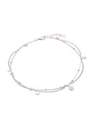 Agatha Sterling Silver Multi-Chain Anklets for Women with Cubic Zirconia Stone and Moon/Paved Star Charm, Silver