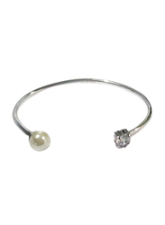 Agatha Stainless Steel Cuff Bangle for Women with Pearl and Cubic Zirconia Stone, Silver