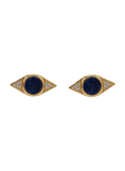 Agatha Bras Eye Shape Stud Earrings for Women with Cubic Zirconia Stone, Gold