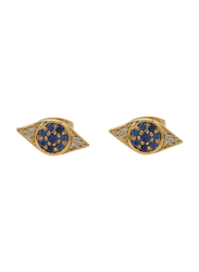Agatha Bras Paved Eye Shape Stud Earrings for Women with Cubic Zirconia Stone, Gold