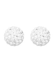 Agatha Sterling Silver Balls Earrings for Women with Ceramic Ball, Silver