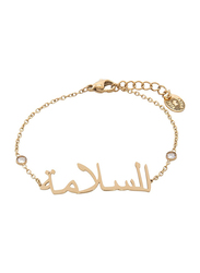 Agatha Sterling Silver Chain Bracelet for Women with Cubic Zirconia Stone and Arabic Word Peace, Gold
