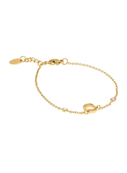 Agatha Sterling Silver Chain Bracelet for Women with Cubic Zirconia Stone and Arabic Number 5, Gold