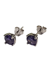 Agatha Sterling Silver Claw Stud Earrings for Women with 6mm Cubic Zirconia Stone, Violet