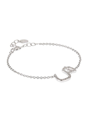 Agatha Sterling Silver Chain Bracelet for Women with Cubic Zirconia Stone and Arabic Letter SH Charm, Silver