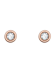 Agatha Sterling Silver Stud Earrings for Women with Crystal Stone, Rose Gold