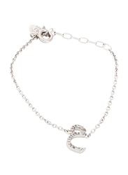 Agatha Sterling Silver Chain Bracelet for Women with Cubic Zirconia Stone and Arabic Letter AN Charm, Silver