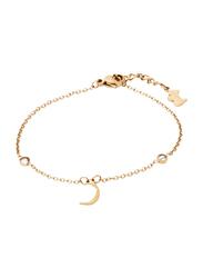 Agatha Sterling Silver Chain Bracelet for Women with Cubic Zirconia Stone and Arabic Letter R Charm, Gold