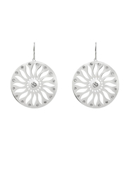 Agatha Stainles Steel Openwork Sun Motif Hoop Earrings with Cubic Zirconia Stone, Silver