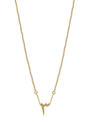 Agatha Stainless Steel Necklace for Women with Cubic Zirconia Stone and Arabic Number 3 Pendant, Gold