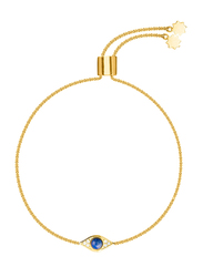 Agatha Brass Chain Bracelet for Women with Cubic Zirconia Stone and Paved Eye Charm, Gold