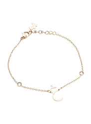 Agatha Sterling Silver Chain Bracelet for Women with Cubic Zirconia Stone and Arabic Letter G Charm, Gold