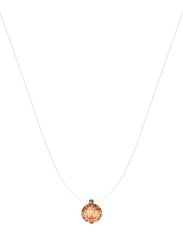 Agatha Sterling Silver Short Necklace for Women with Transparent Thread and Cubic Zirconia Stone Pendant, Brown