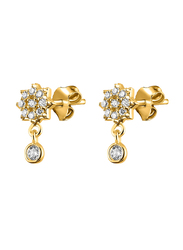 Agatha Bras Paved Star Hoop Earrings for Women with Cubic Zirconia Stone, Gold
