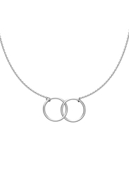 Agatha Sterling Silver Chain Necklace for Women with 2 Interling Ring Pendant, Silver
