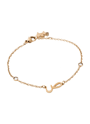 Agatha Stainless Steel Chain Bracelet for Women with Cubic Zirconia Stone and Arabic Letter SA Charm, Gold