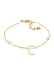 Agatha Sterling Silver Chain Bracelet for Women with Cubic Zirconia Stone and Arabic Letter AA Charm, Gold