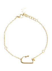 Agatha Sterling Silver Chain Bracelet for Women with Cubic Zirconia Stone and Arabic Letter T Charm, Gold