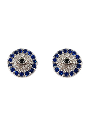 Agatha Brass Stud Earrings for Women with Paved Turkish Eye and Cubic Zirconia Stone, Blue/Silver