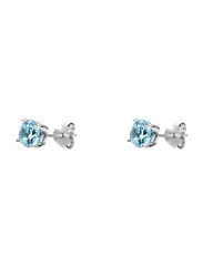 Agatha Sterling Silver Claw Stud Earrings for Women with 6mm Cubic Zirconia Stone, Blue