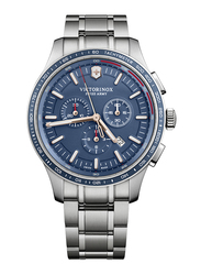 Victorinox Swiss Army Alliance Sport Analog Watch for Men with Stainless Steel Band, Water Resistant and Chronograph, 241817, Silver-Blue