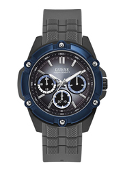 Guess Analog Quartz Watch for Men with Silicone Band, Water Resistant and Chronograph, W1302G3, Grey-Blue