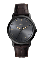 Fossil The Minimalist 3H Analog Watch for Men with Leather Band, Water Resistant, FS5573, Brown-Grey