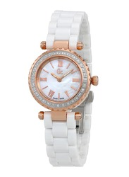 Guess Collection Mini Chic Analog Watch for Women with Ceramic Band, Water Resistant, Crystal, X70126L1S, White