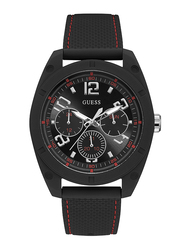 Guess Analog Quartz Watch for Men with Silicone Band, Water Resistant and Chronograph, W1256G1, Black