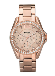 Fossil Riley Analog Watch for Women with Stainless Steel Band, Water Resistant and Chronograph, Rose Gold, ES2811