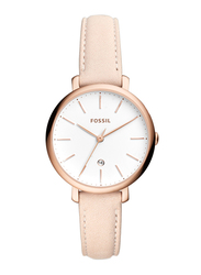 Fossil Jacqueline Analog Watch for Women with Leather Band, Water Resistant, ES4369, Nude-White