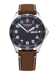 Victorinox Swiss Army Fieldforce Analog Watch for Men with Leather Band, Water Resistant, 241848, Brown-Blue
