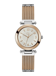 GC PrimeChic Analog Watch for Women with Stainless Steel Band, Water Resistant, Mid Size Mesh, Y59001L1MF, Rose Gold-Silver