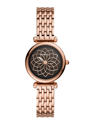 Fossil Carlie Mini Analog Watch for Women with Stainless Steel Band, Water Resistant, ES4691, Rose Gold-Black