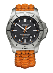 Victorinox Swiss Army I.N.O.X. Professional Diver Analog Watch for Men with Fabric Band, Water Resistant, Paracord Strap, 241845, Orange-Black