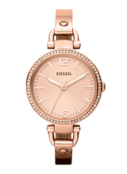 Fossil Georgia Analog Watch for Women with Stainless Steel Band, Water Resistant, ES3226, Rose Gold