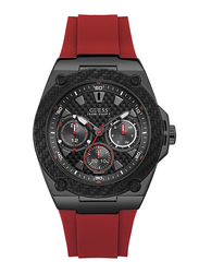 Guess Analog Quartz Watch for Men with Silicone Band, Water Resistant and Chronograph, W1049G6, Red-Black