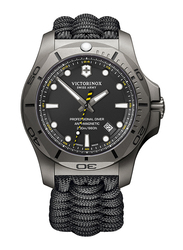 Victorinox Swiss Army I.N.O.X. Professional Diver Titanium Analog Watch for Men with Fabric Band, Water Resistant, Paracord Strap, 241812, Black