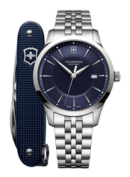 Victorinox Swiss Army Alliance Analog Watch for Men with Stainless Steel Band, Water Resistant, 241802.1, Silver-Blue