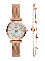 Fossil Carlie Analog Watch for Women with Stainless Steel Band and Bracelet, Water Resistant, ES4443SET, Rose Gold-White