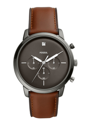 Fossil Neutra Analog Watch for Men with Leather Band, Water Resistant and Chronograph, FS5582, Brown-Grey
