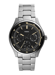 Fossil Belmar Analog Multifunction Watch for Men with Stainless Steel Band, Water Resistant and Chronograph, FS5575, Silver-Black