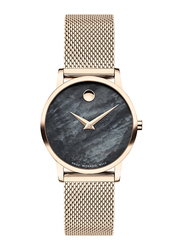 Movado Museum Classic Analog Watch for Women with Stainless Steel Band, Water Resistant, 0607426, Gold-black