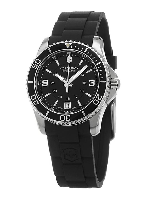 Victorinox Swiss Army Maverick Small Analog Watch for Women with Rubber Band, Water Resistance, 241702, Black