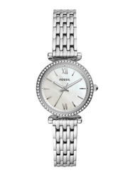 Fossil Carlie Mini Analog Watch for Women with Stainless Steel Band, Water Resistant, ES4647, Silver-White